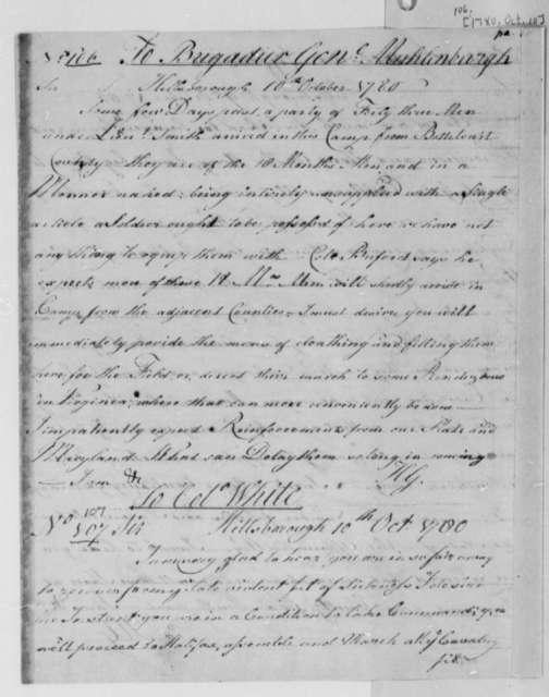 Horatio Gates to Anthony W. White, October 10, 1780
