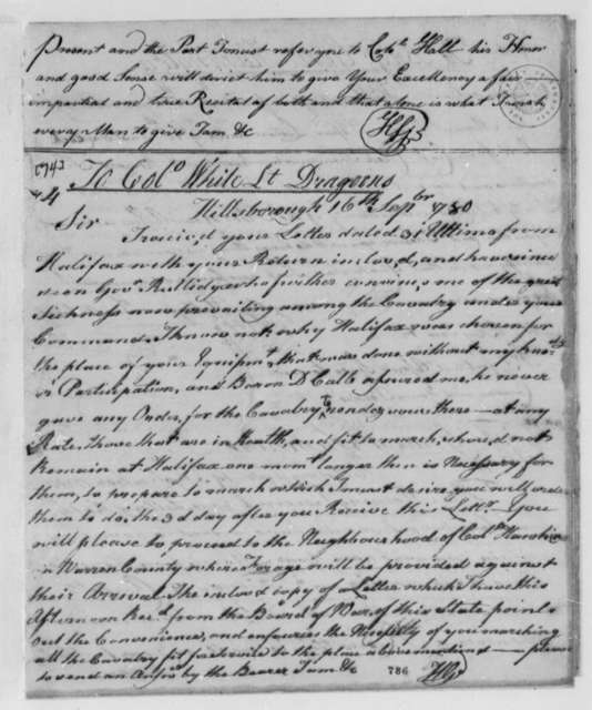 Horatio Gates to Anthony W. White, September 16, 1780
