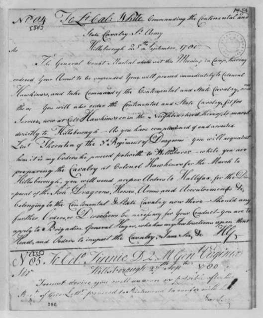 Horatio Gates to Anthony W. White, September 25, 1780