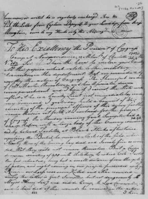 Horatio Gates to Cornwallis, November 24, 1780