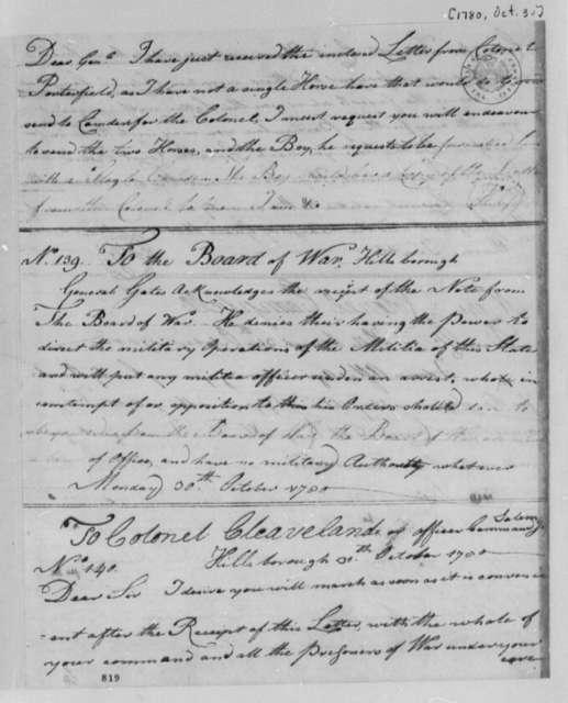 Horatio Gates to Daniel Morgan, October 28, 1780