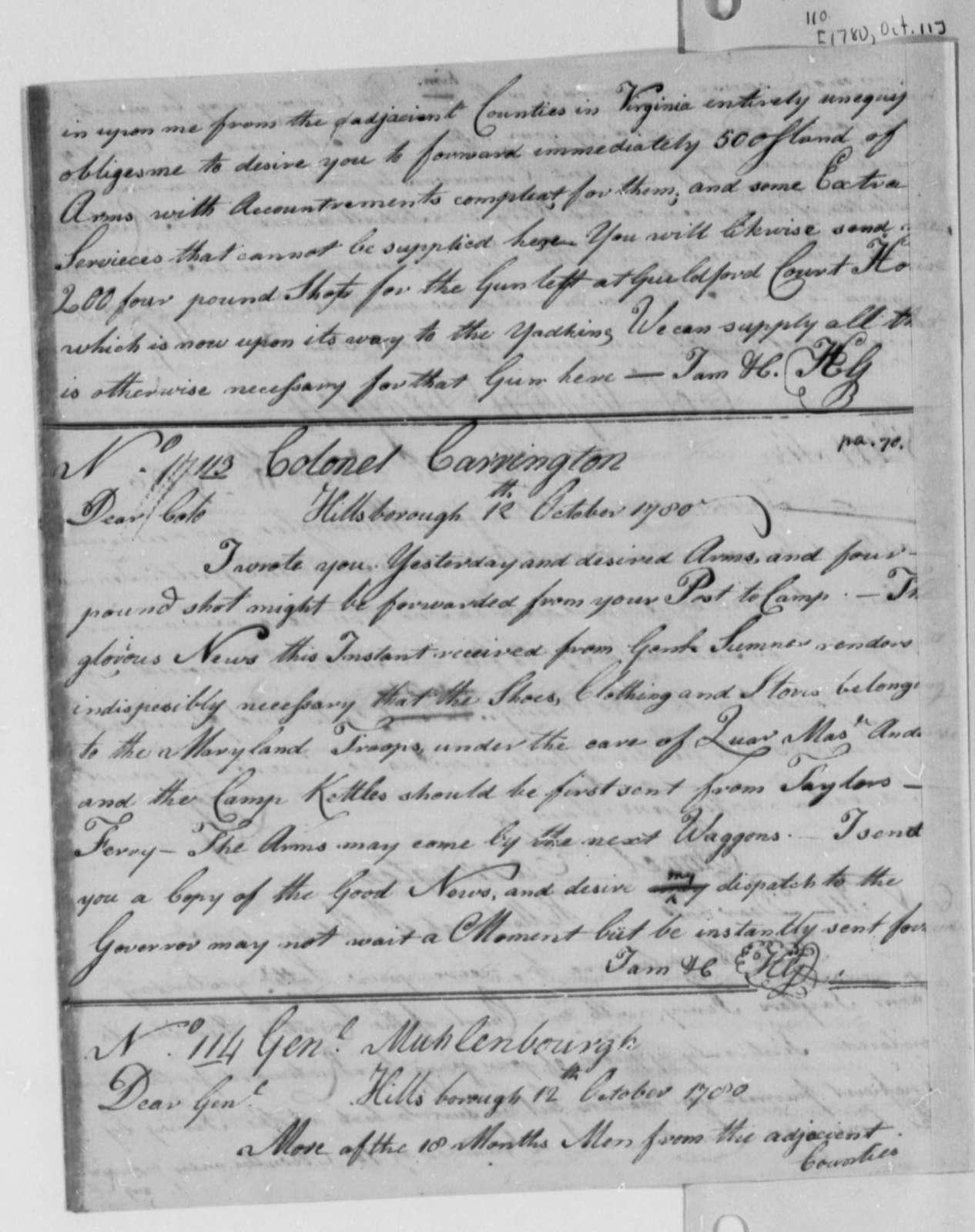 Horatio Gates to Edward Carrington, October 12, 1780