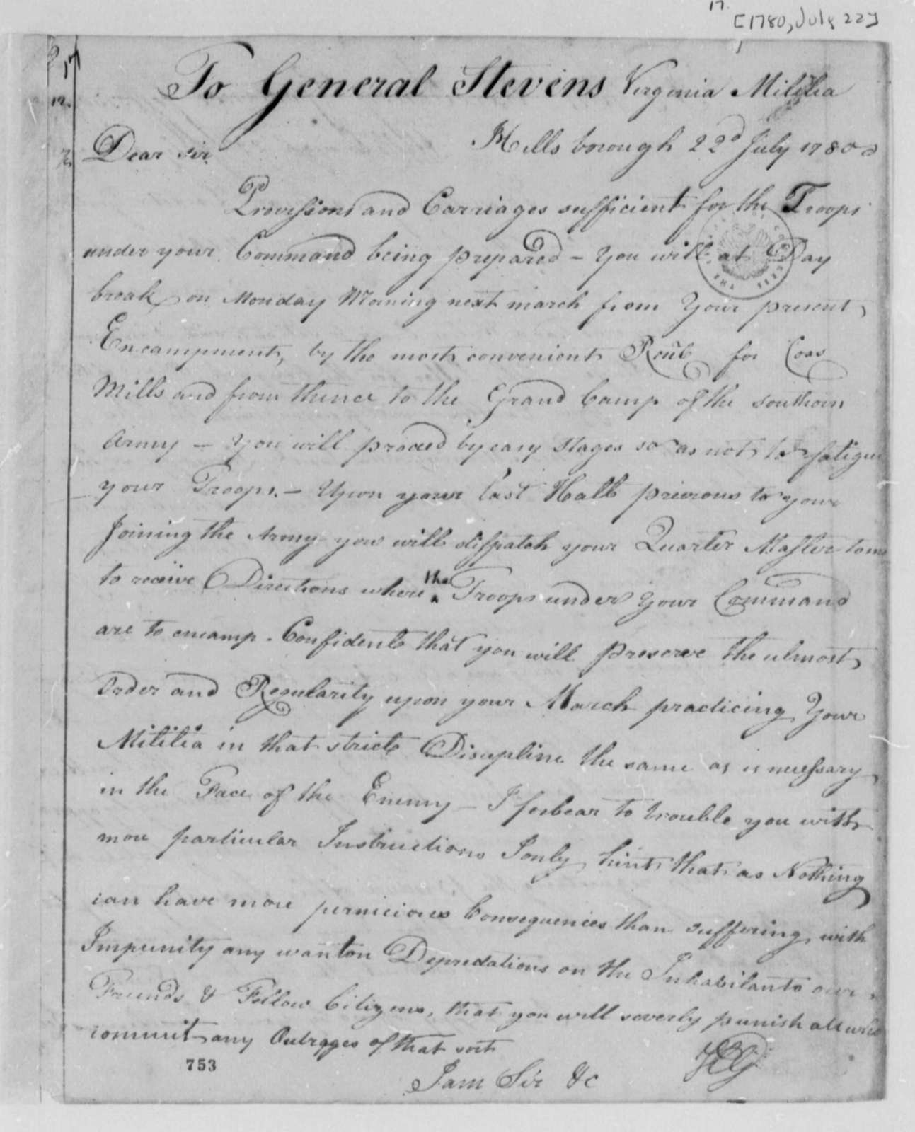 Horatio Gates to Edward Stevens, July 22, 1780