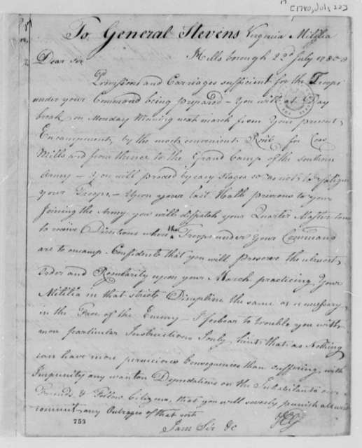 Horatio Gates to Edward Stevens, July 22, 1780