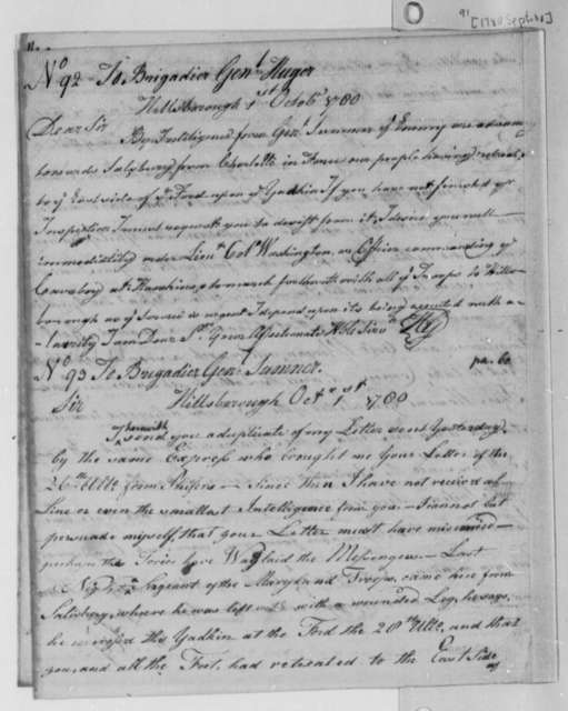 Horatio Gates to Isaac Huger, October 1, 1780