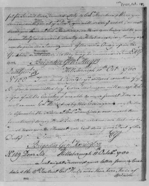 Horatio Gates to Isaac Huger, October 10, 1780