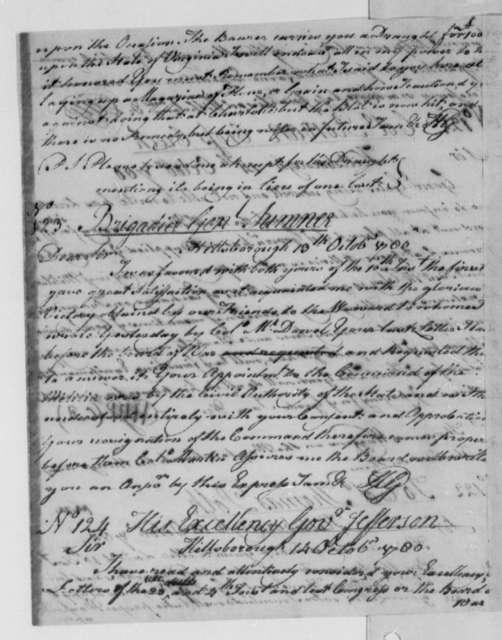 Horatio Gates to Jethro Sumner, October 13, 1780