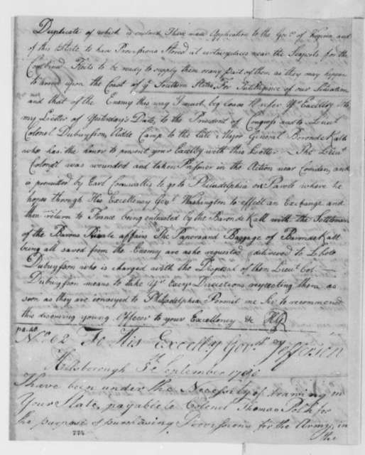 Horatio Gates to Jethro Sumner, September 4, 1780