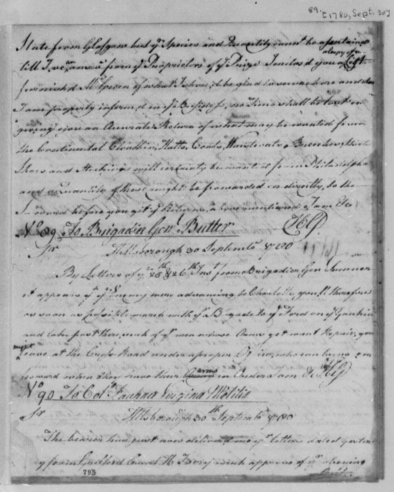 Horatio Gates to John Butler, September 30, 1780
