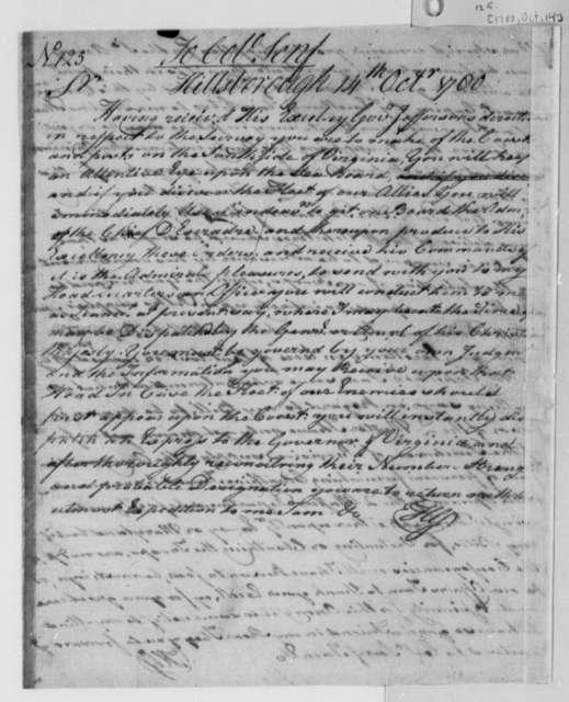 Horatio Gates to John Christian Senf, October 14, 1780