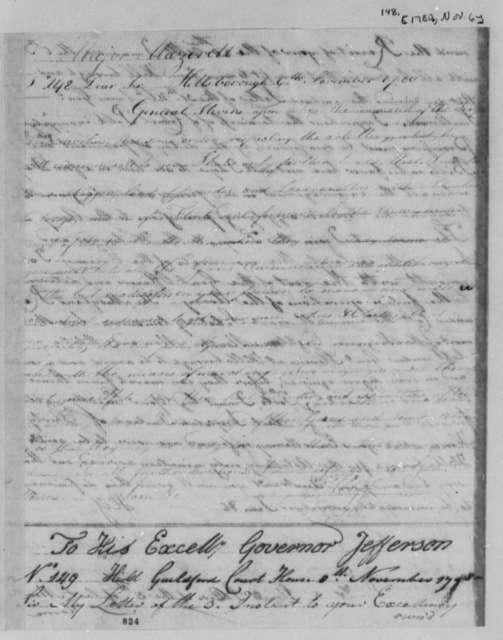 Horatio Gates to John Mazerett, November 6, 1780