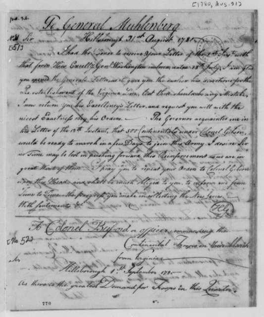 Horatio Gates to John P. G. Muhlenberg, August 31, 1780