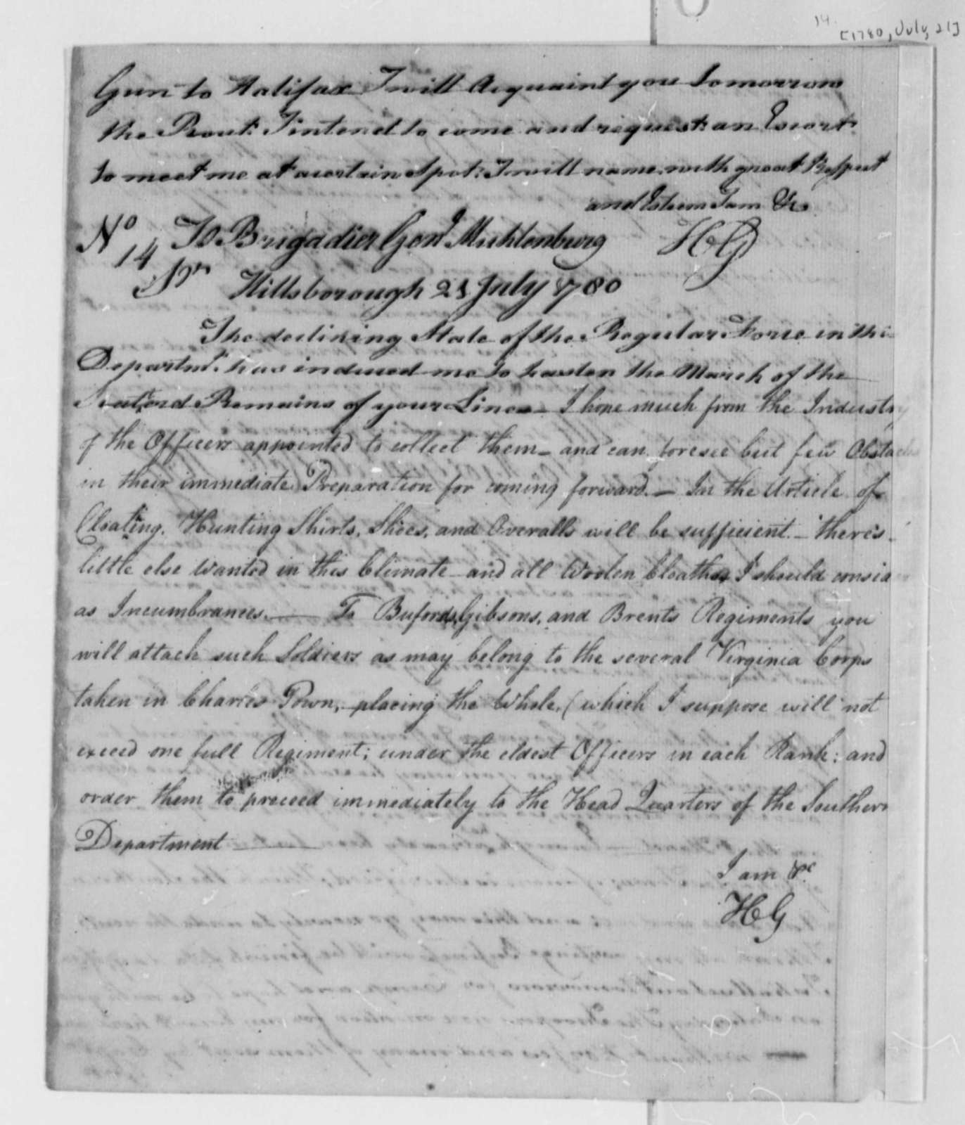 Horatio Gates to John P. G. Muhlenberg, July 21, 1780