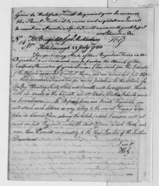 Horatio Gates to John P. G. Muhlenberg, July 21, 1780