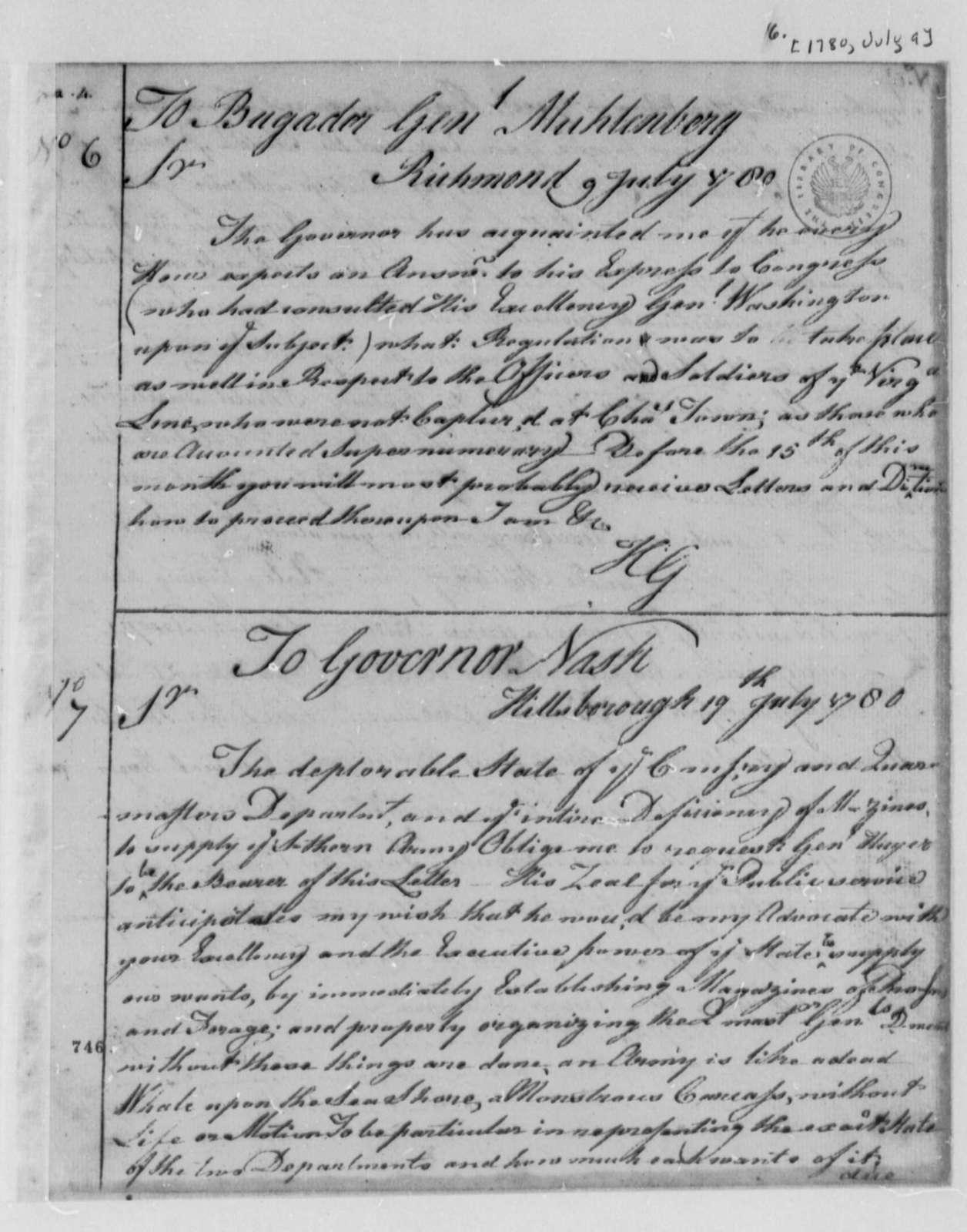 Horatio Gates to John P. G. Muhlenberg, July 9, 1780