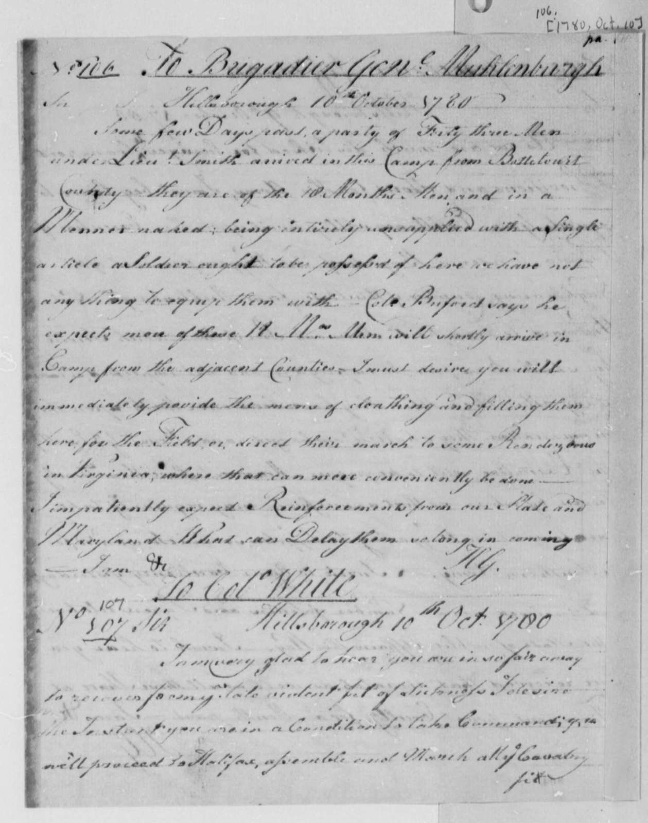 Horatio Gates to John P. G. Muhlenberg, October 10, 1780