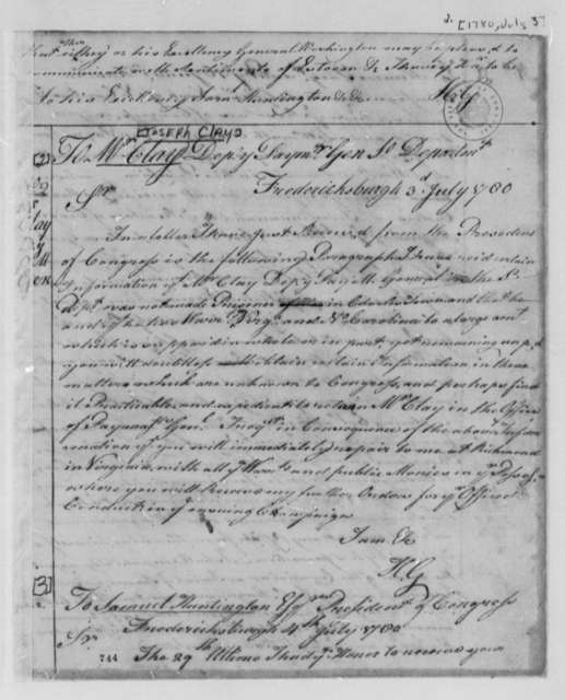Horatio Gates to Joseph Clay, July 3, 1780