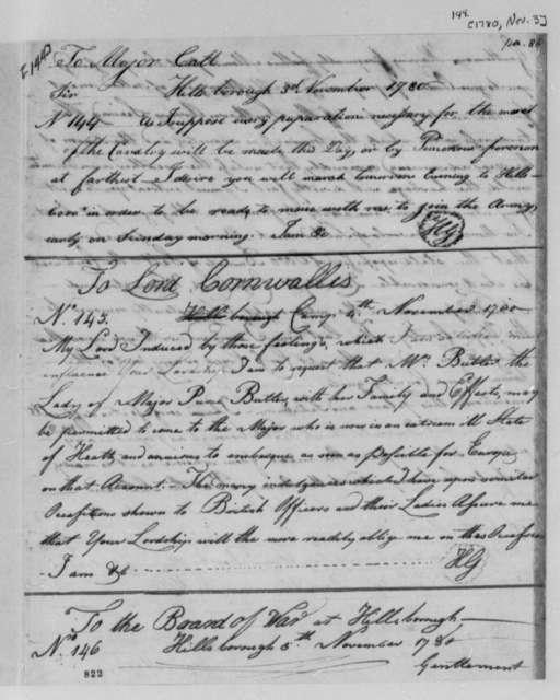 Horatio Gates to Lord Charles Cornwallis, November 4, 1780
