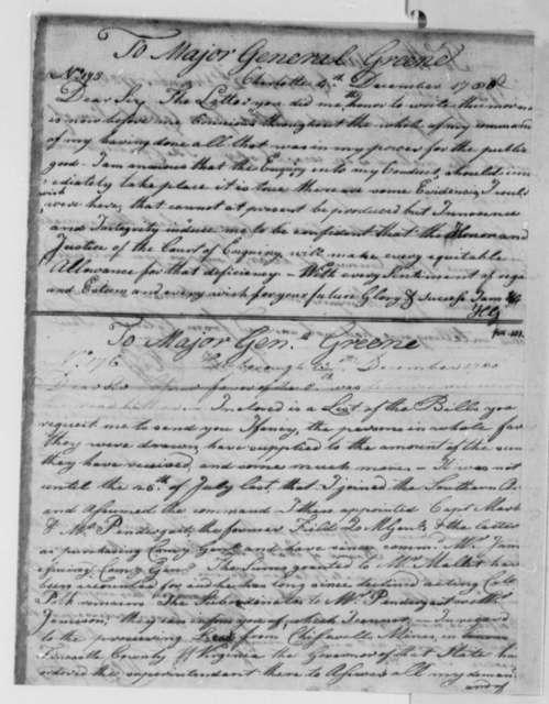 Horatio Gates to Nathanael Greene, December 4, 1780