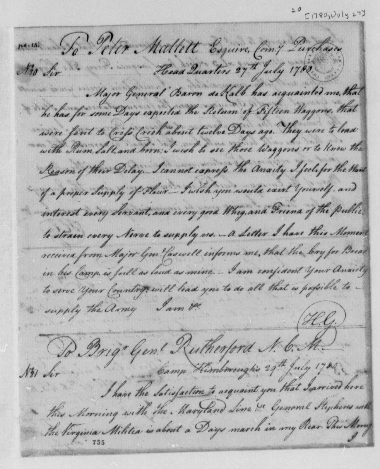 Horatio Gates to Peter Mallett, July 27, 1780