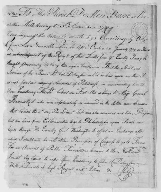 Horatio Gates to Prince de Barre, September 5, 1780