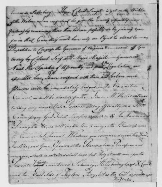Horatio Gates to Richard Caswell, August 22, 1780
