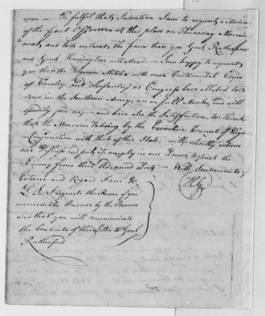 Horatio Gates to Richard Caswell, July 25, 1780