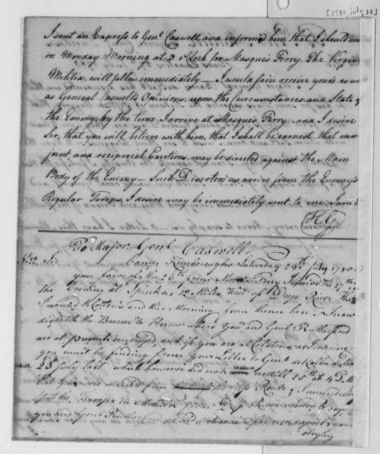 Horatio Gates to Richard Caswell, July 29, 1780