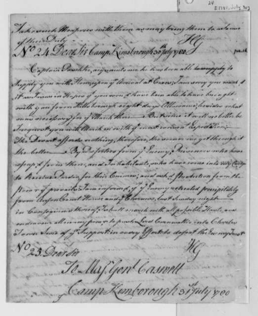 Horatio Gates to Richard Caswell, July 31, 1780