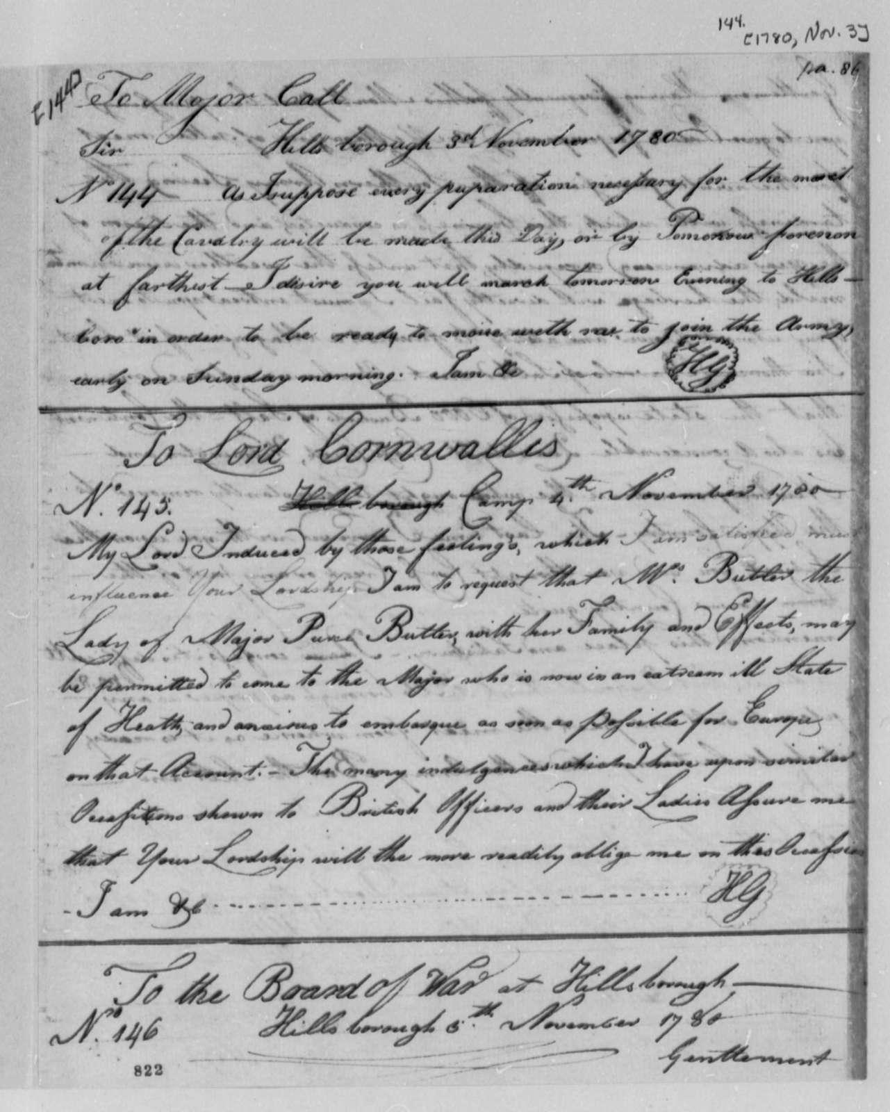 Horatio Gates to Richard K. Call, November 3, 1780