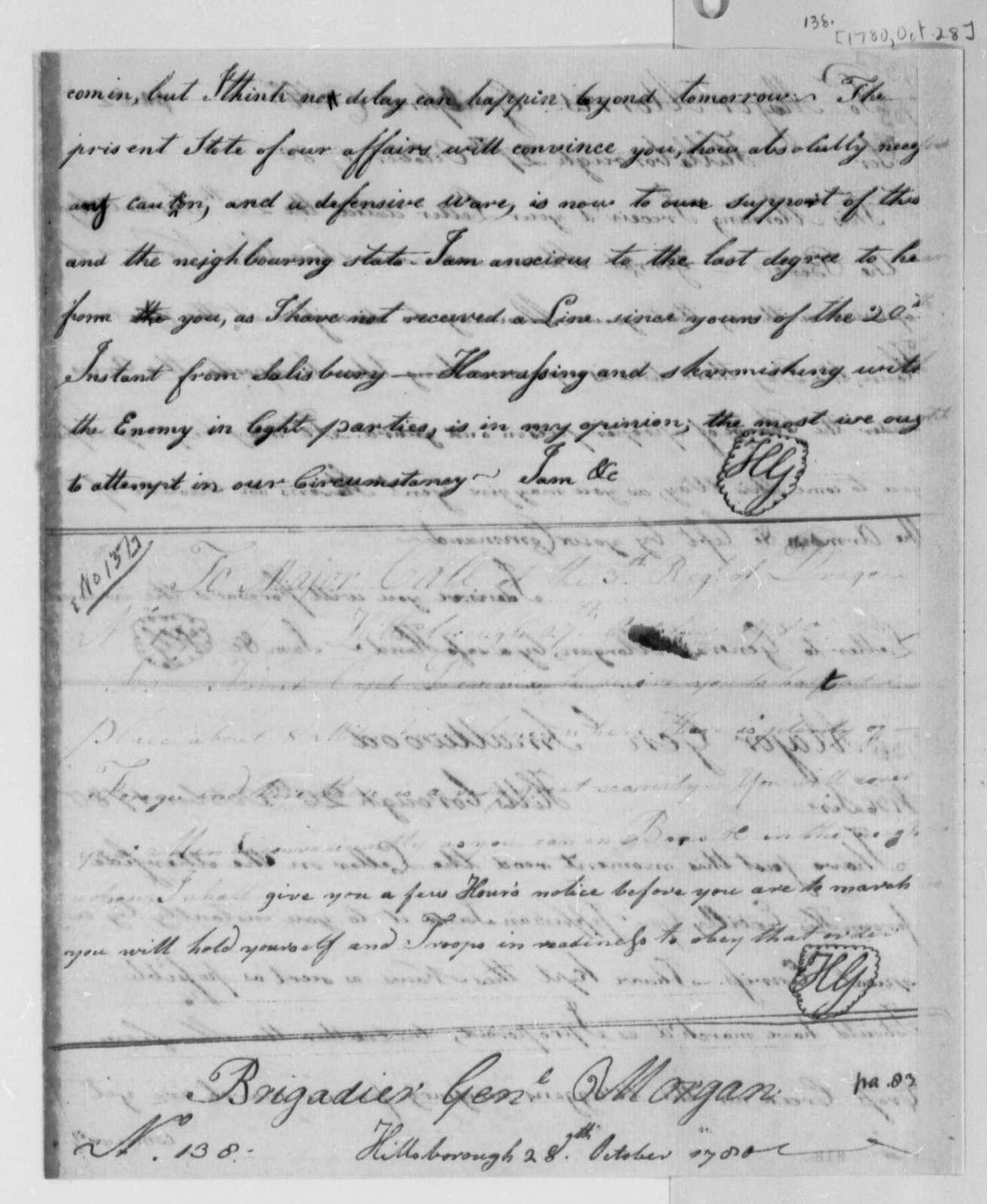Horatio Gates to Richard K. Call, October 27, 1780