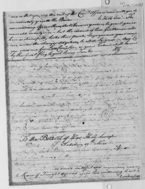 Horatio Gates to Robert Irvine, November 16, 1780