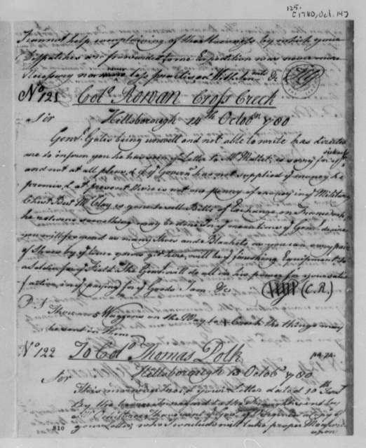 Horatio Gates to Robert Rowan, October 14, 1780
