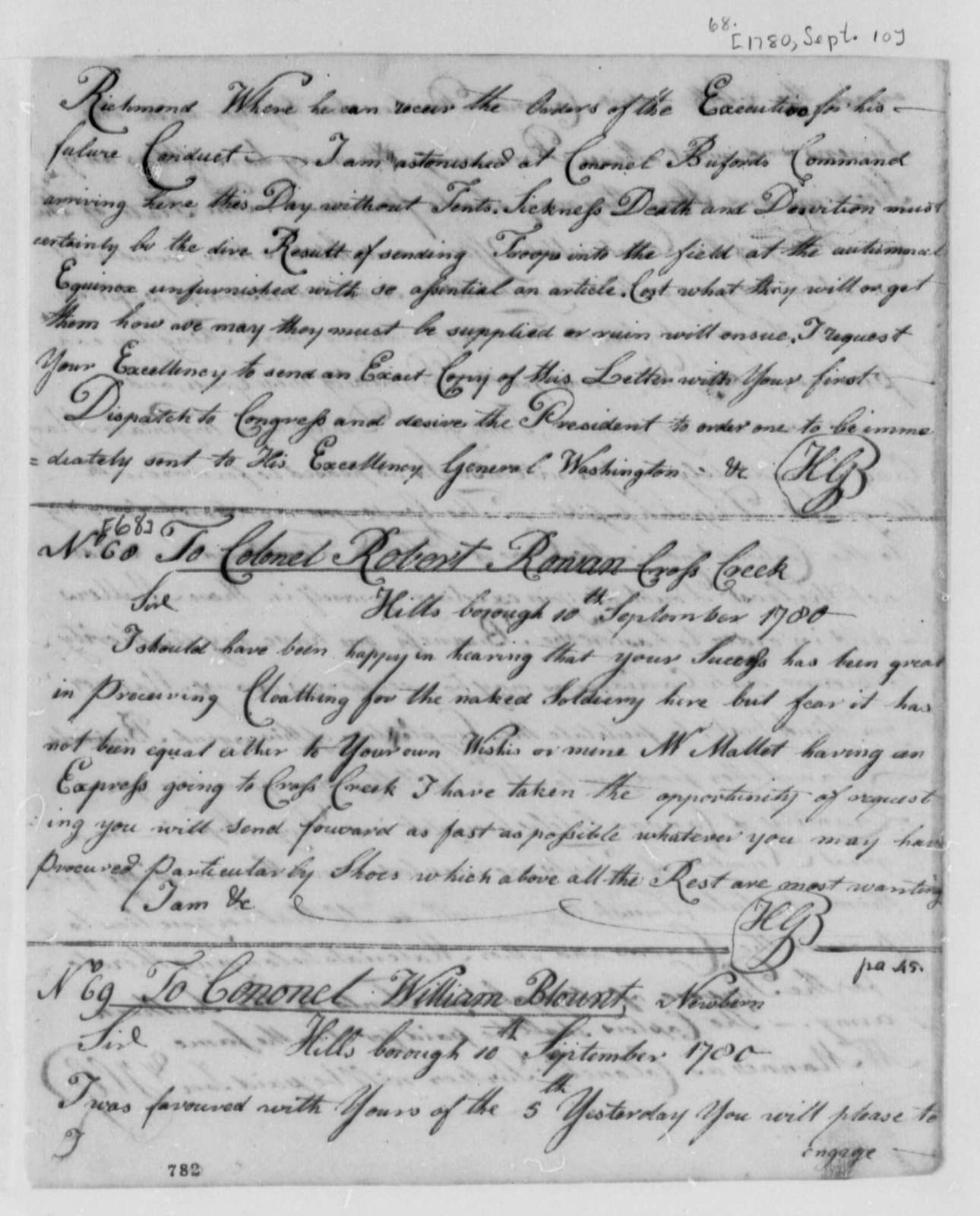 Horatio Gates to Robert Rowan, September 10, 1780