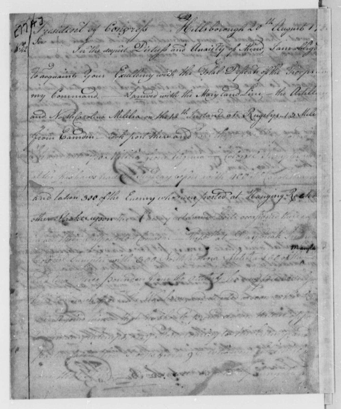 Horatio Gates to Samuel Huntington, September 20, 1780