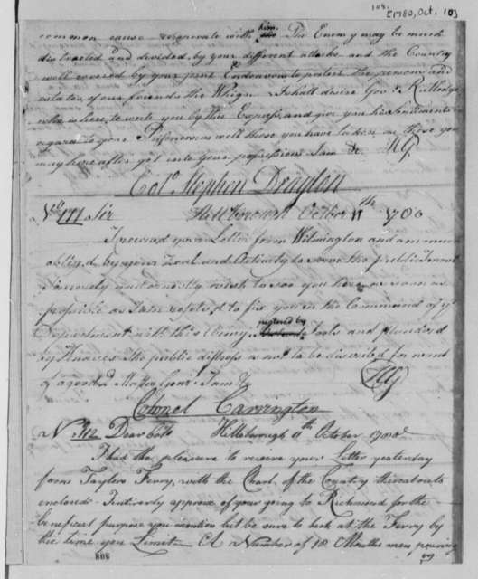 Horatio Gates to Stephen Drayton, October 11, 1780