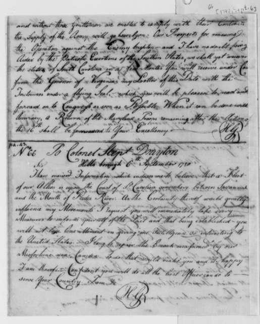 Horatio Gates to Stephen Drayton, September 6, 1780