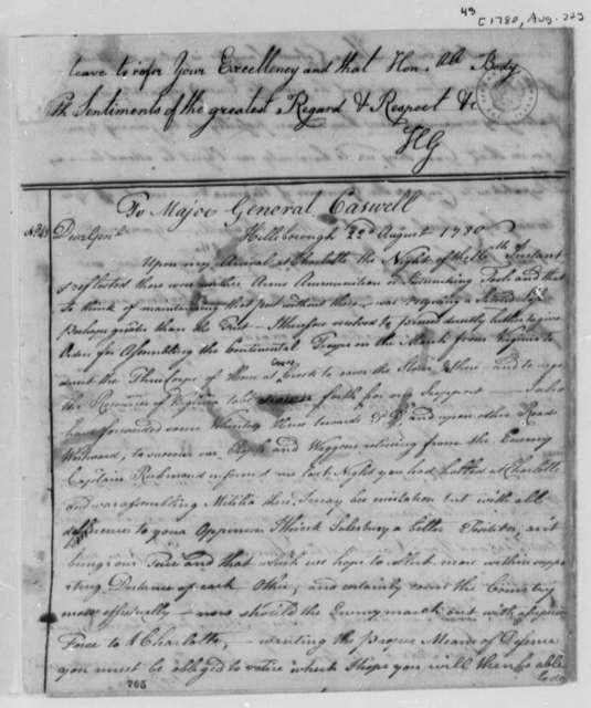 Horatio Gates to Thomas Jefferson, 1780, Text Incomplete