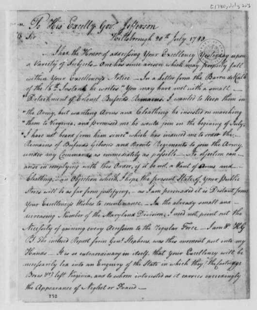 Horatio Gates to Thomas Jefferson, July 20, 1780