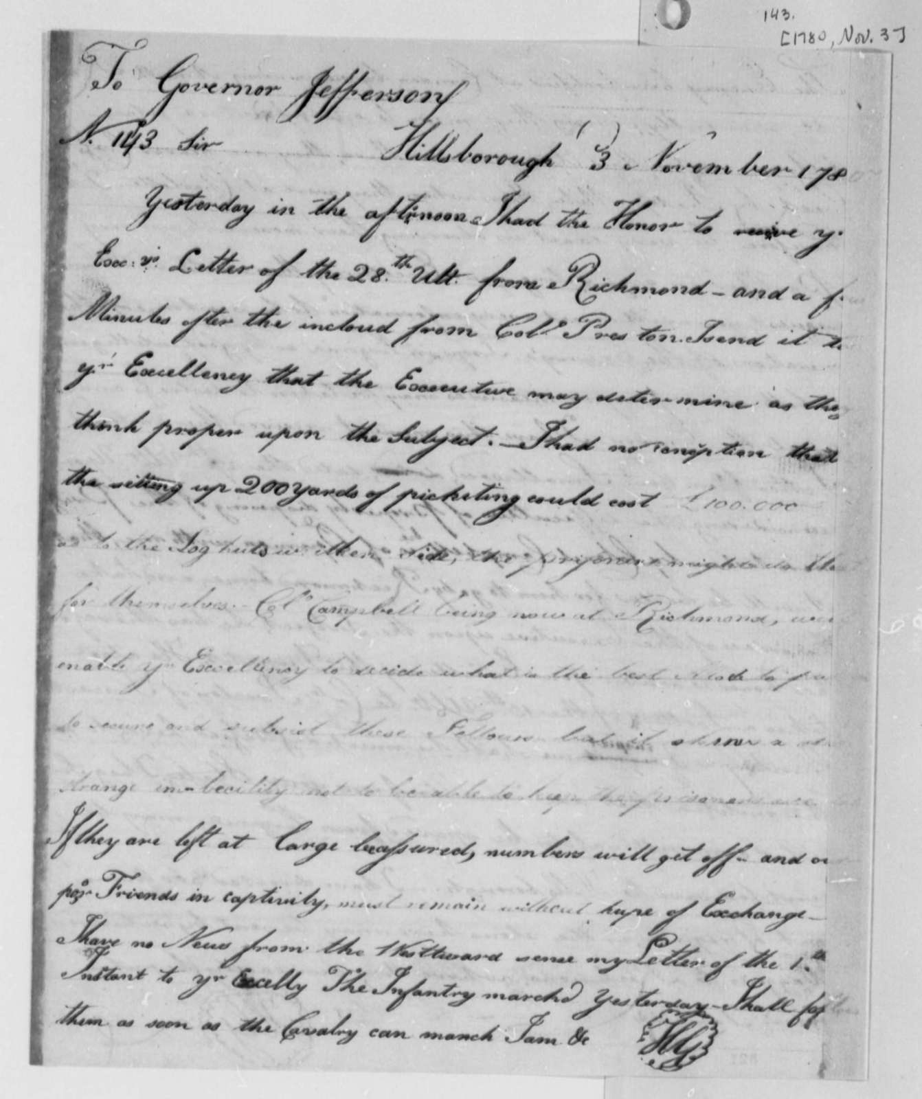 Horatio Gates to Thomas Jefferson, November 3, 1780