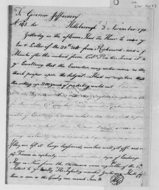 Horatio Gates to Thomas Jefferson, November 3, 1780
