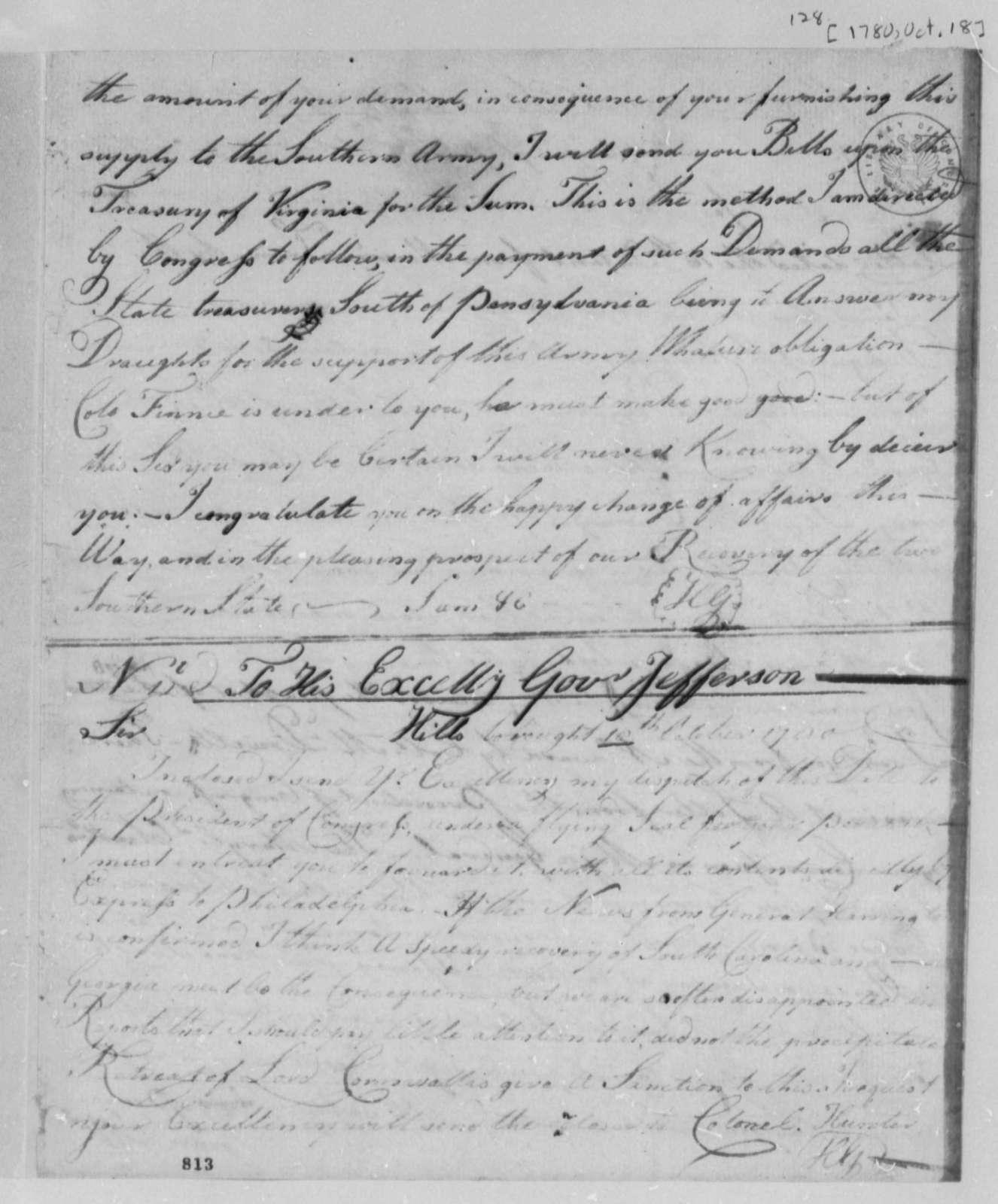 Horatio Gates to Thomas Jefferson, October 10, 1780