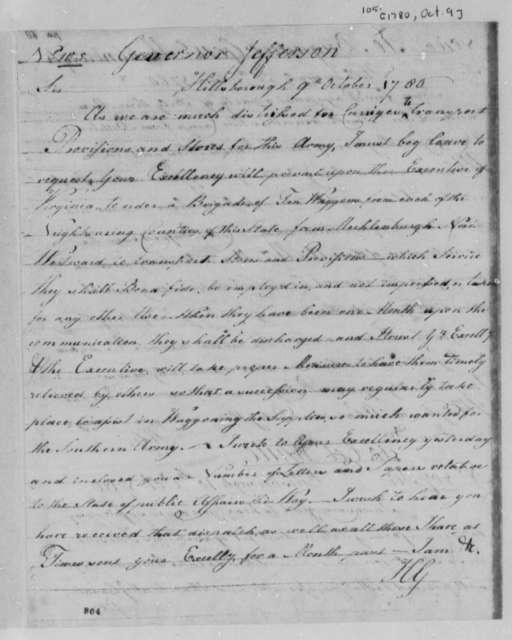 Horatio Gates to Thomas Jefferson, October 9, 1780