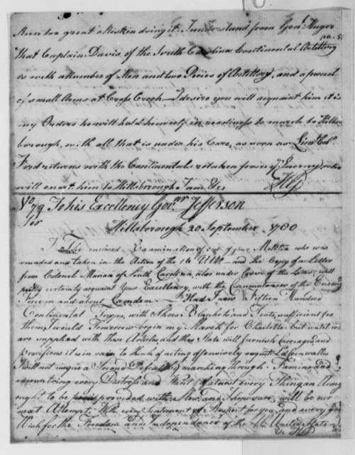 Horatio Gates to Thomas Jefferson, September 20, 1780