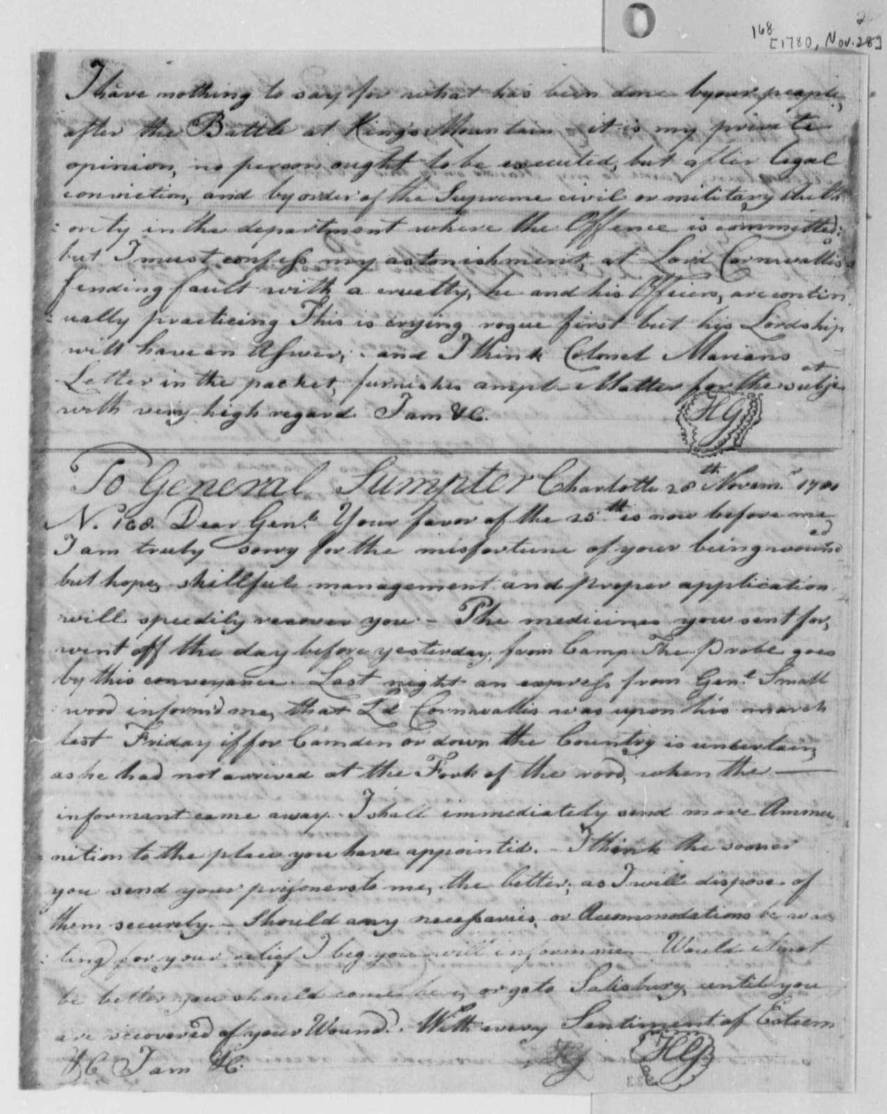 Horatio Gates to Thomas Sumter, November 26, 1780