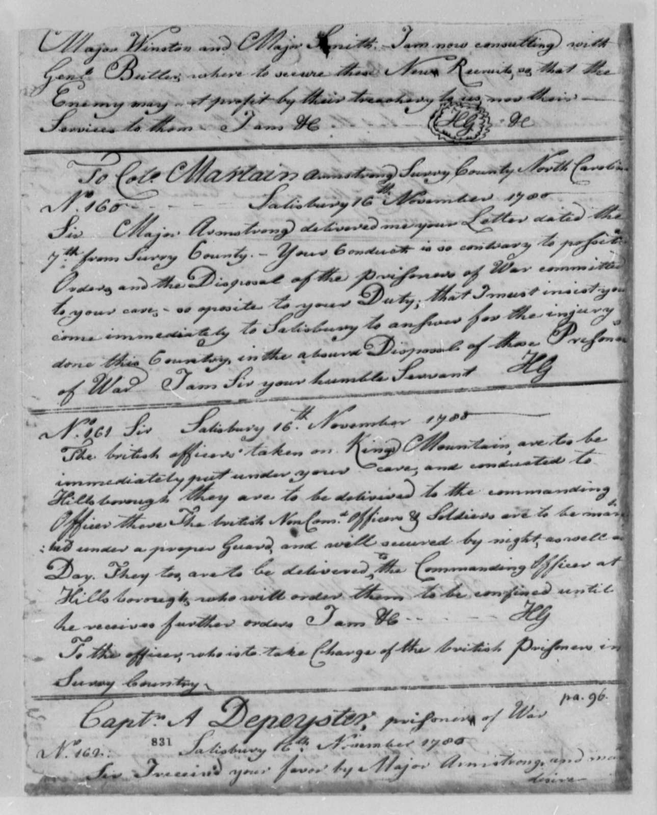Horatio Gates to Unknown, November 16, 1780, on the British Officers Taken on King's Mountain