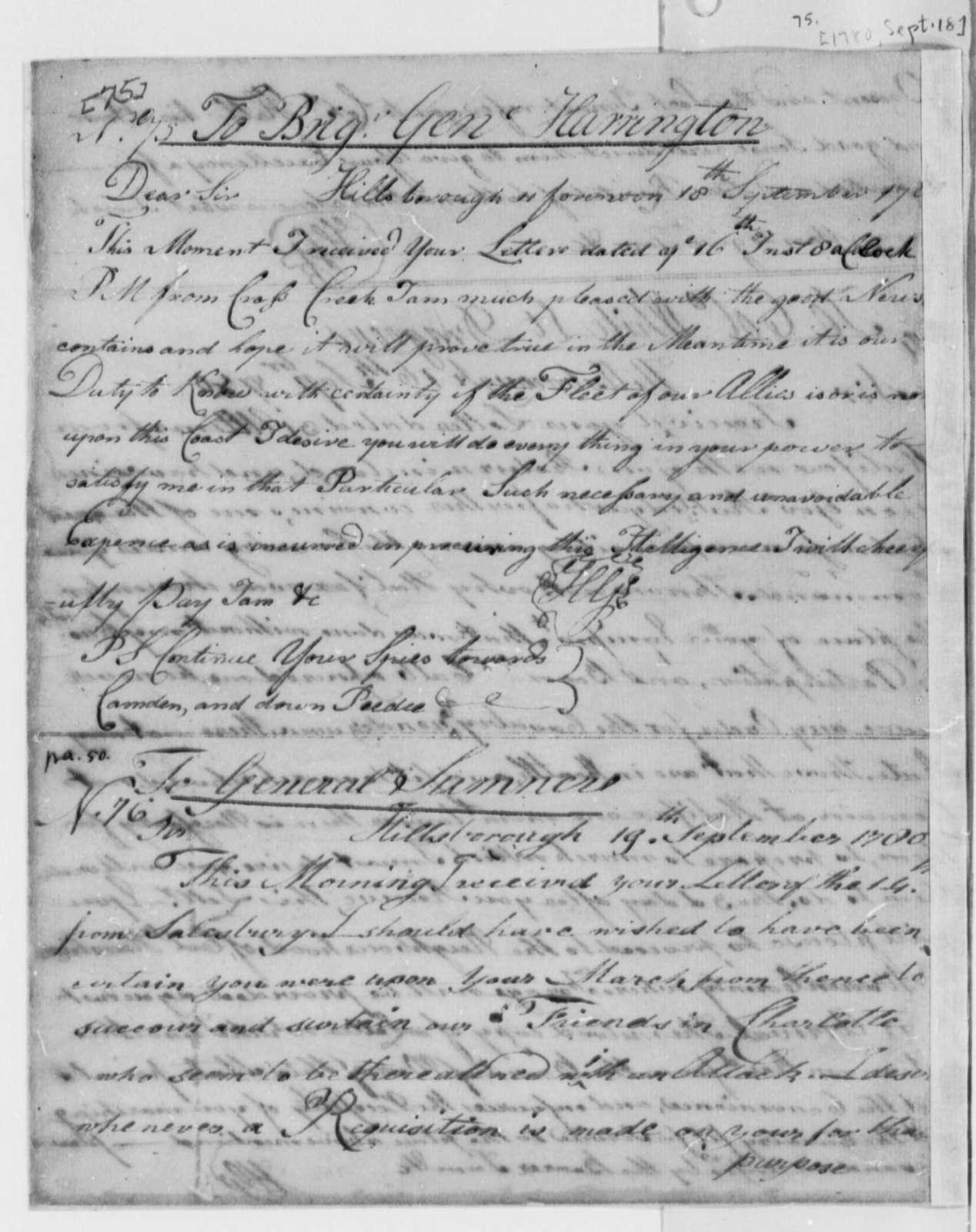 Horatio Gates to W. H. Harrington, September 18, 1780