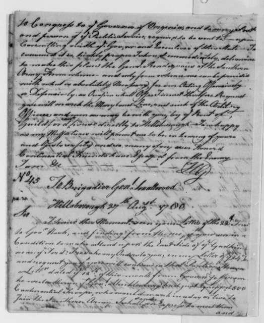 Horatio Gates to William Smallwood, August 24, 1780