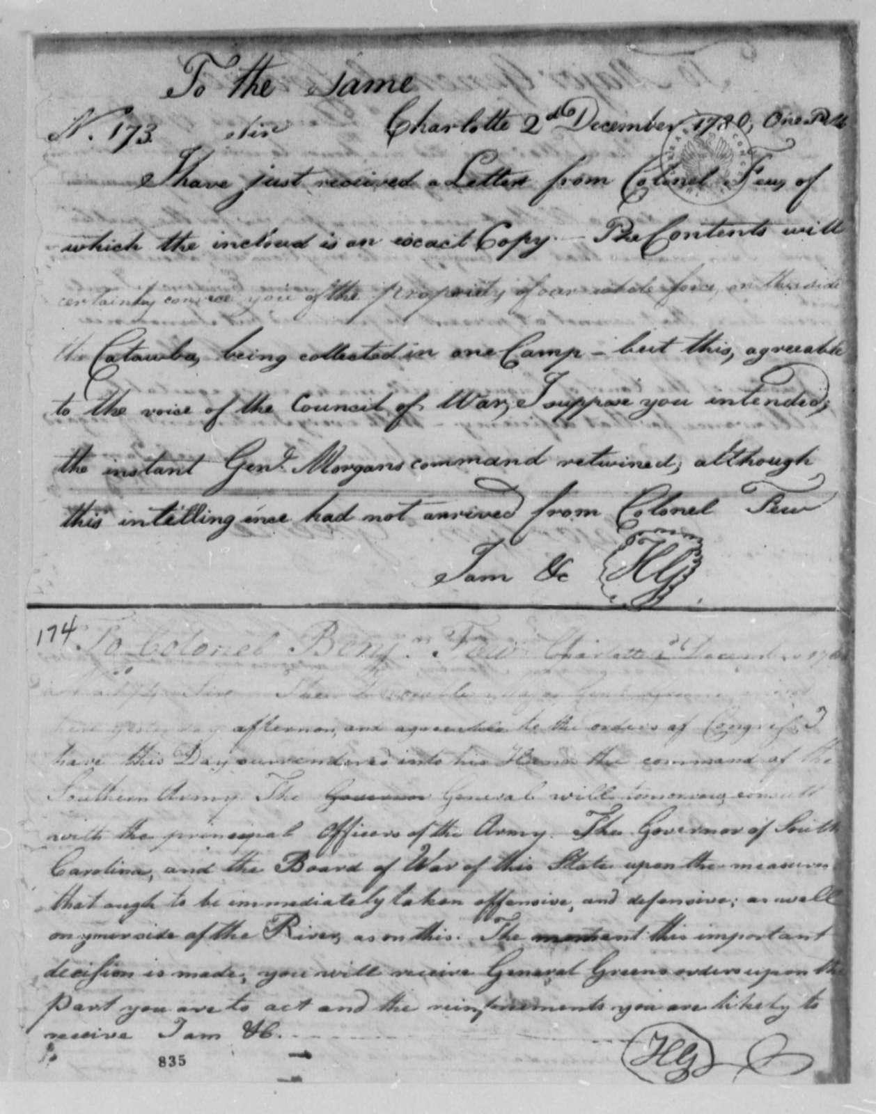 Horatio Gates to William Smallwood, December 2, 1780