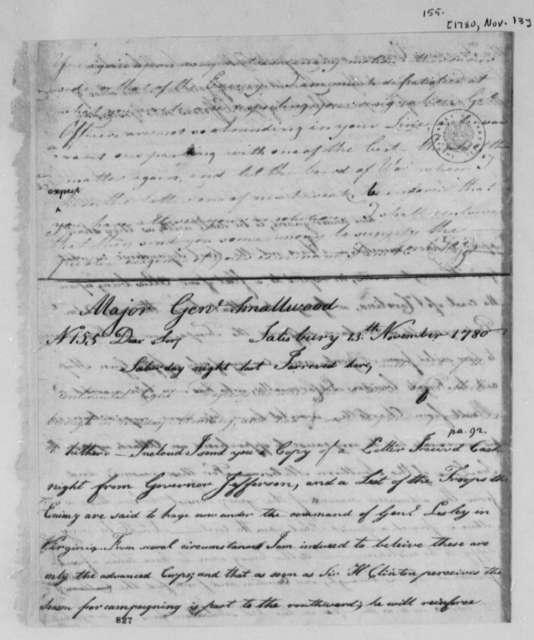 Horatio Gates to William Smallwood, November 13, 1780
